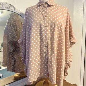 NWOT polka dot oversized blouse
